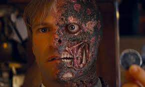 Blink and you'll miss Dent as Two-Face in the second Batman movie from Christopher Nolan